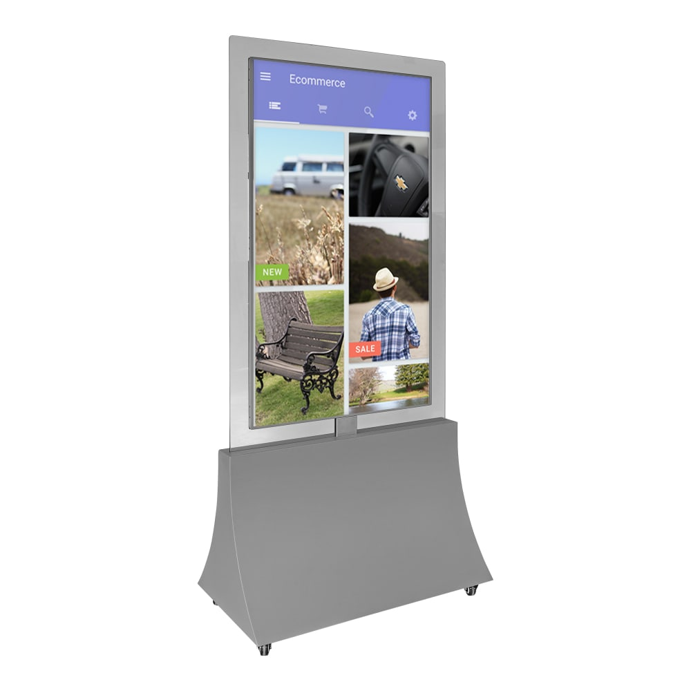 55 inch vertical double sided transparent advertising display